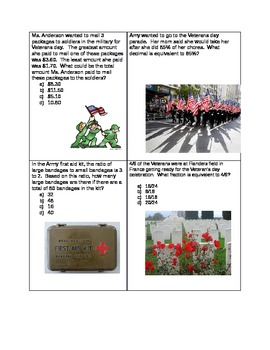 Veterans day word problems