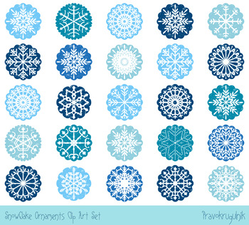 Christmas snowflake ornaments clipart, White snowflakes in