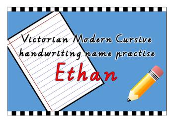 Victorian Modern Cursive name practise - Ethan