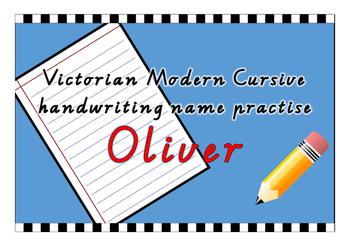 Victorian Modern Cursive name practise - Oliver
