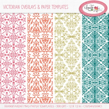 Victorian damask overlays and papers