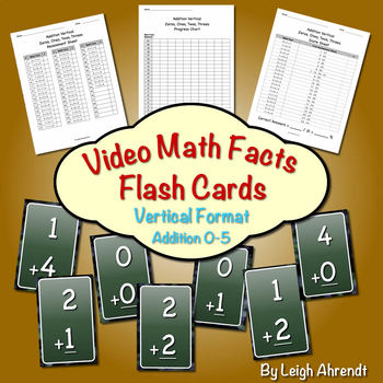 Video Math Facts Flash Cards - 0 to 5   (Addition) (Vertic