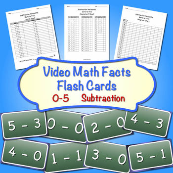 Video Math Facts Flash Cards - 0 to 5   (Subtraction) ( Ho