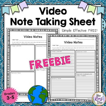 Video Notes or Film Note Taking Sheet (FREEBIE)