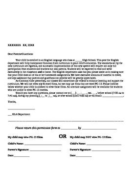 Common Core Video Permission Letter