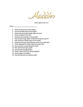 Video Questions for Aladdin part 2