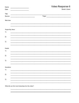 Video Response Worksheet 6