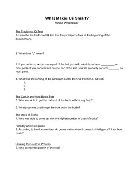 """Video Worksheet - BCC Challenges the IQ Test in """"What Make"""