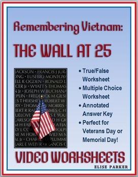 Vietnam Memorial Video Worksheets -- Perfect for Veterans