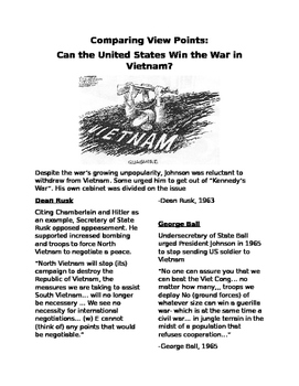 Vietnam War- Comparing ViewPoints: Can the US Win the War