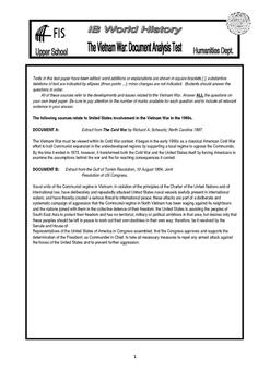IB History - Vietnam War Document Based Test