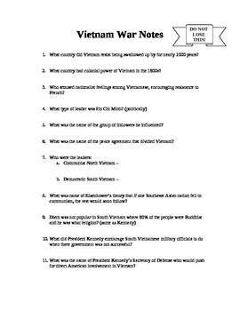 Vietnam War Notes Outline - Question format