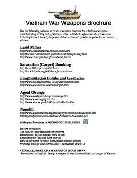 Vietnam War Weapons Brochure Activity