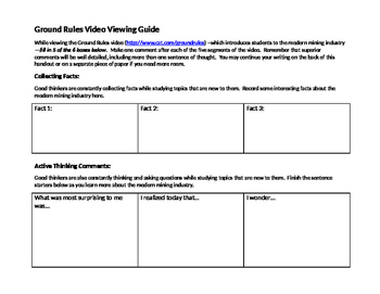 Viewing Guide - Ground Rules Mining Video