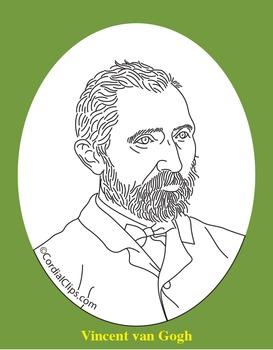 Vincent van Gogh Clip Art, Coloring Page, or Mini-Poster