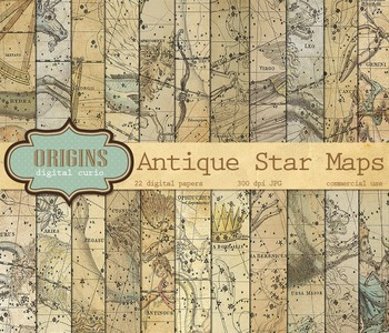 Vintage Antique Celestial Zodiac Astrology Star Chart Digi