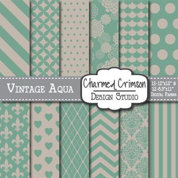 Vintage Aqua Digital Paper 1346
