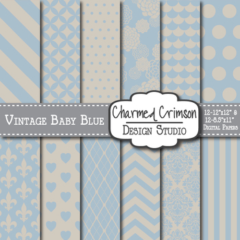 Vintage Baby Blue Digital Paper 1327