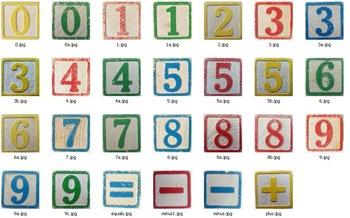 Vintage Block Number Clip Art