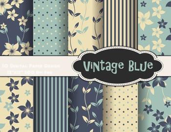 Vintage Blue Flower Digital Paper Blue Flower Background P