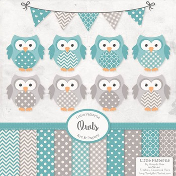 Vintage Blue Owls Vectors & Papers - Owl Clip Art, Baby Ow