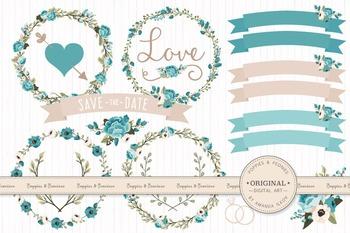Vintage Blue Wedding Floral Clipart & Vectors - Flower Cli
