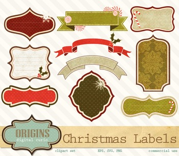 Vintage Christmas Labels PNG and Vector Clipart