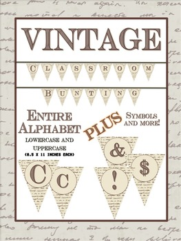 """Vintage Classroom Bunting SET - Capital and """"Lowercase"""" Le"""