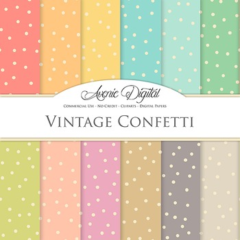 Vintage Confetti Digital Paper patterns scrapbook Worn old