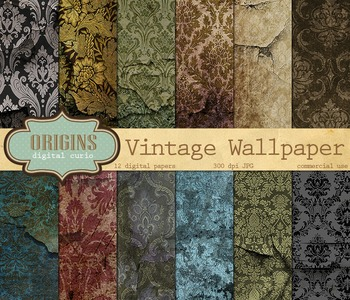 Vintage Damask Wallpaper textures grunge scrapbook digital