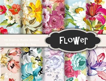 Vintage Delicate Shabby Chic Flower Digital Papers Vintage