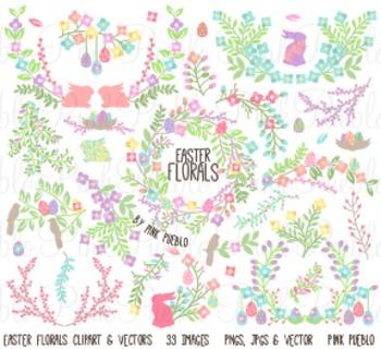 Vintage Easter Flowers and Laurels Clip Art Clipart - Comm