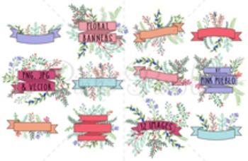 Vintage Floral Banner Clipart Clip Art, Rustic Wedding Lau