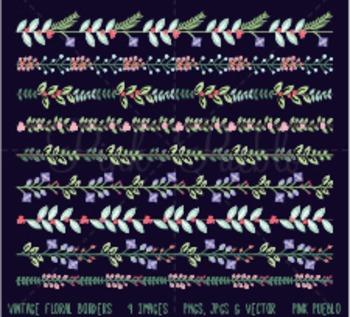 Vintage Floral Borders Clipart Clip Art, Flower Borders Cl