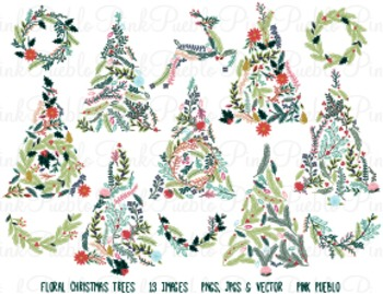 Vintage Floral Christmas Tree Clipart Clip Art - Personal