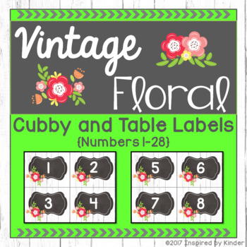 Vintage Floral Cubby and Table Labels {Shabby Chic Design}