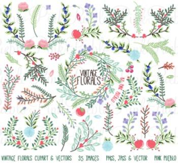 Vintage Florals and Ornaments Clipart Clip Art - Commercia