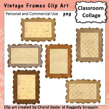 Vintage Frames or Labels Clip Art Color  personal & commer