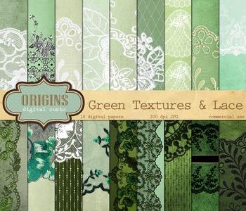 Vintage Green Lace digital scrapbooking papers, grunge bac