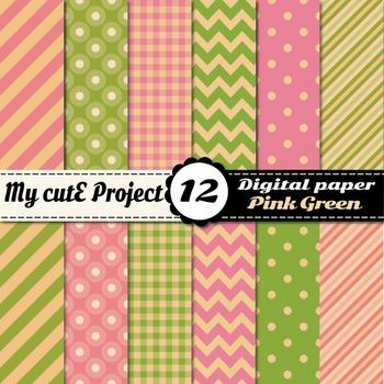 Vintage Green and pink DIGITAL PAPER - Polka dots, stripes