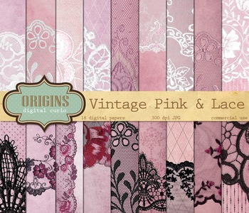 Vintage Grunge Pink Lace Digital Scrapbooking Paper Textur