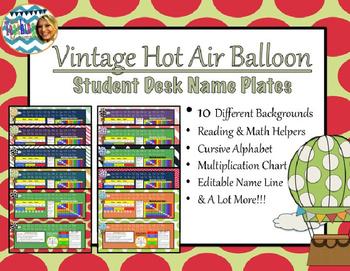 Vintage Hot Air Balloon Name Plates