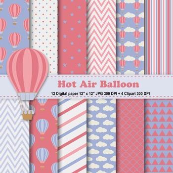 Vintage Hot Air Balloons Digital Paper + Clipart