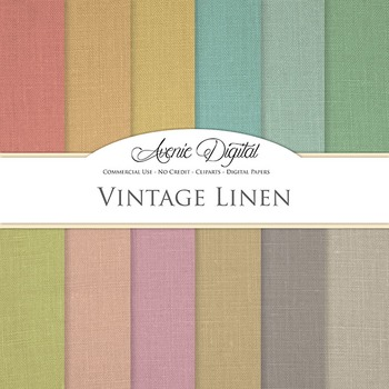 Vintage Linen Digital Paper patterns fabric texture scrapb