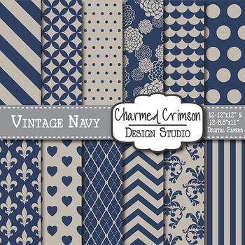 Vintage Navy Blue Digital Paper 1089