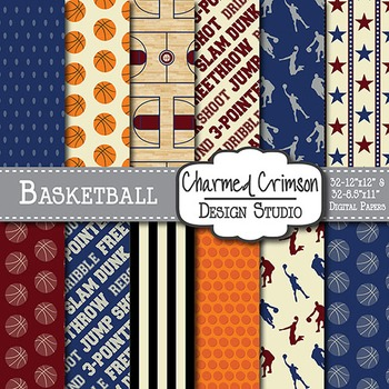 Vintage Navy and Red Basketball Digital Paper 1238