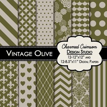 Vintage Olive Green Digital Paper 1257
