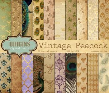 Vintage Peacock Digital Scrapbook Paper Textures Backgrounds