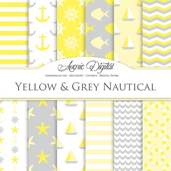 Yellow and Grey Digital Paper patterns - yellow gray sea s