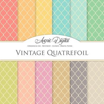 Vintage Quatrefoi Digital Paper patterns scrapbook Worn po